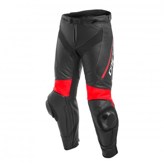 Motorcycle Trousers Dainese Delta 3 Black Fluo Red