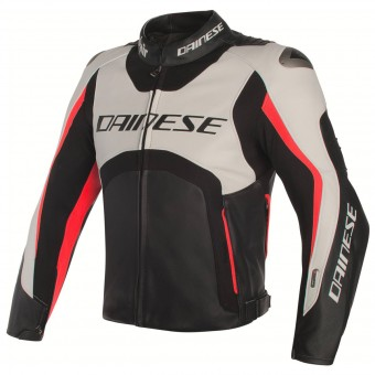 Motorcycle Jackets Dainese Misano D-Air White Black Red Fluo