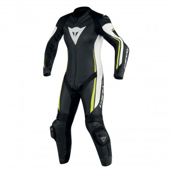 Leather Motorcycle Suits Dainese Assen 1PC Perf Lady Black White Yellow Fluo
