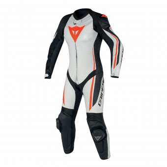 Leather Motorcycle Suits Dainese Assen 1PC Perf Lady White Black Red Fluo