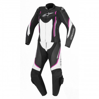 Leather Motorcycle Suits Alpinestars Stella Motegi V2 2P Black White Fuchsia