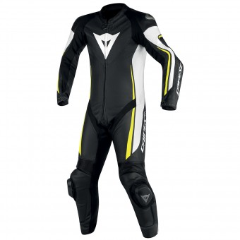 Leather Motorcycle Suits Dainese Assen 1PC Perf Black White Yellow Fluo