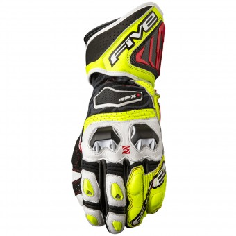 Motorcycle Gloves Five RFX1 White Yellow Fluo