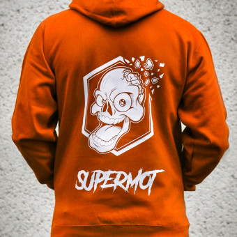 Motorcycle Hoodie Kikaninac Hoodie Supermot Skull Orange