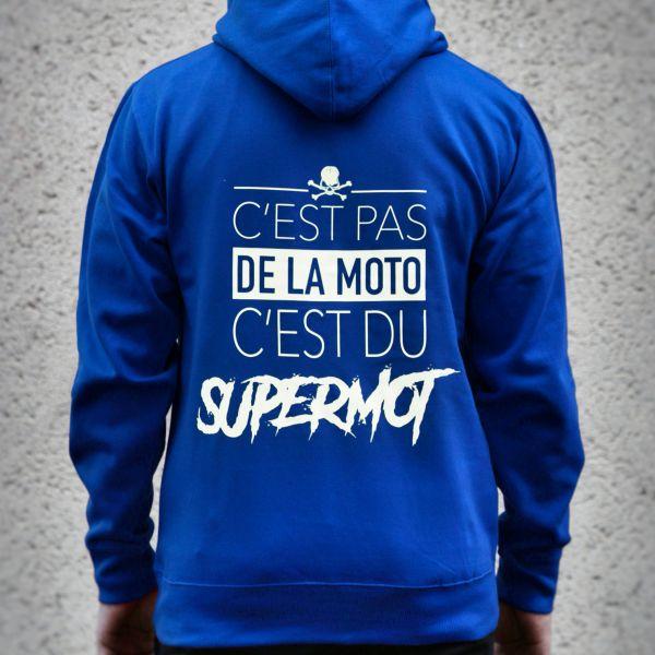 Motorcycle Hoodie Kikaninac Blue Supermot Sweat Hoodie