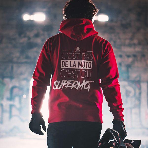 Motorcycle Hoodie Kikaninac Sweat Hoodie Supermot Red