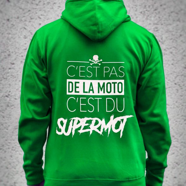Motorcycle Hoodie Kikaninac Sweat Hoodie Supermot Green