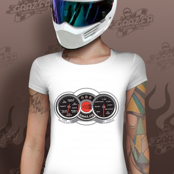 Motorcycle T-Shirts Gaaz Compteur Woman (White)